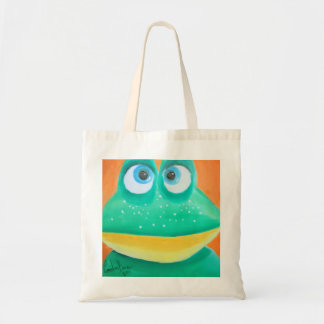 Frog face cute illustration picture budget tote bag