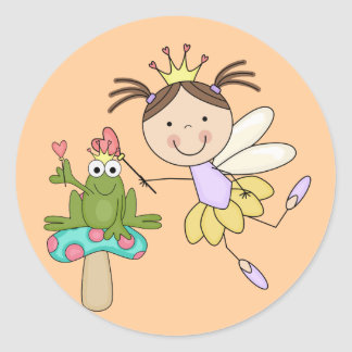 Frog Fairy Magic - Brunette Tshirts and Gifts Round Sticker