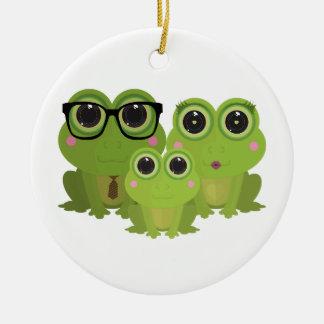 Frog Family Round Ceramic Decoration