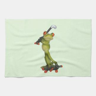 Frog Figurine Golfer on Kitchen & Sports Towel