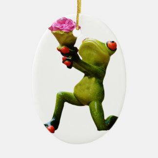 Frog flowers ceramic oval decoration