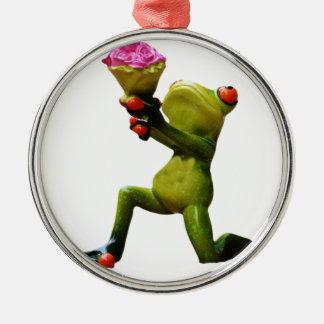 Frog flowers christmas ornament