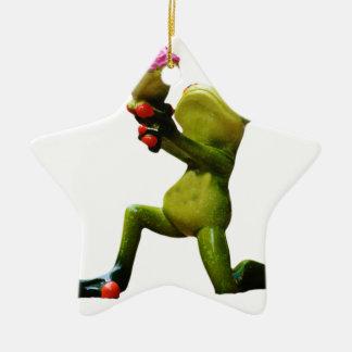 Frog flowers christmas ornament