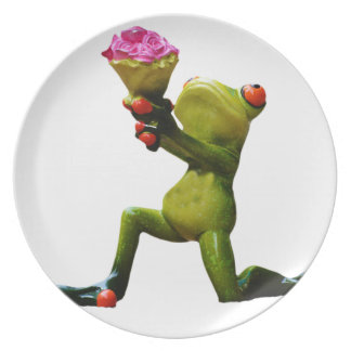 Frog flowers plate
