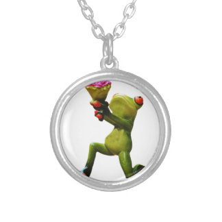 Frog flowers silver plated necklace
