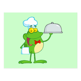 Frog Frogs Amphibian Funny Chef Cartoon Animal Postcard