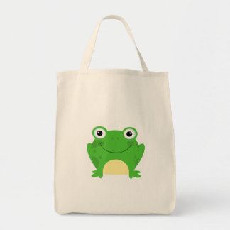Frog Frogs Amphibian Green Cute Cartoon Animal Grocery Tote Bag