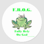 FROG (Fully Rely on God) Round Sticker