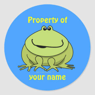 Frog Gifts Cute Green Frog Custom Name Stickers