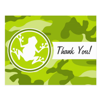 Frog;  green camo, camouflage post cards