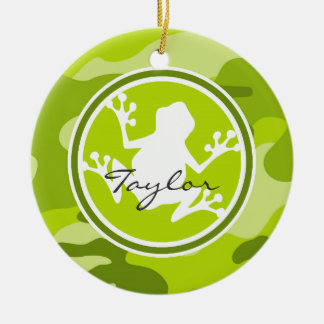 Frog;  green camo, camouflage round ceramic decoration