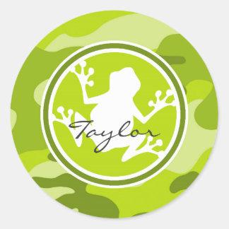 Frog;  green camo, camouflage round sticker