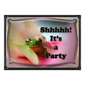 Frog hiding Surprise party invite