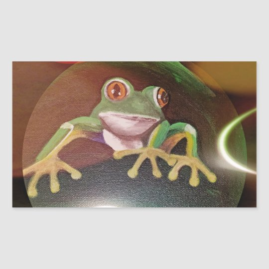 Frog in a Bubble Rectangular Sticker