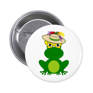 Frog in a hat and mask: Mardi Gras tees & more 6 Cm Round Badge