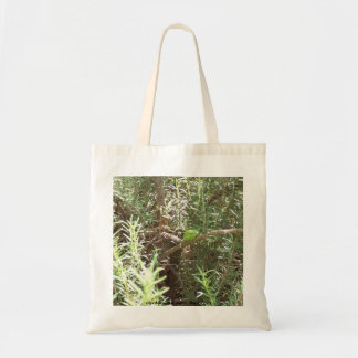 Frog in a plant budget tote bag