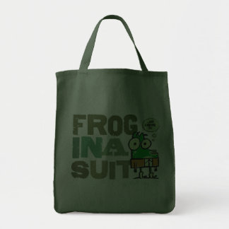 Frog in a Suit Dark Grocery Tote Bag