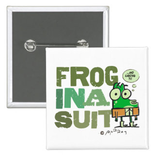 Frog in a Suit Square Button