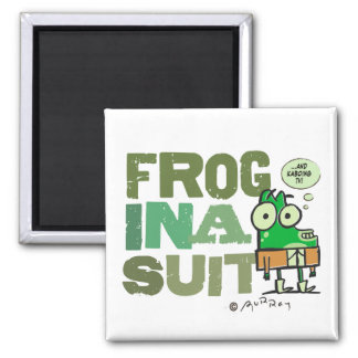 Frog in a Suit Square Magnet