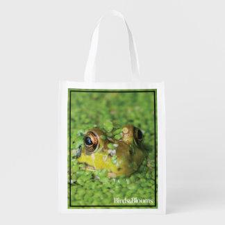 Frog in Green Algae Reusable Grocery Bag