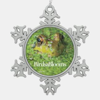 Frog in Green Algae Snowflake Pewter Christmas Ornament