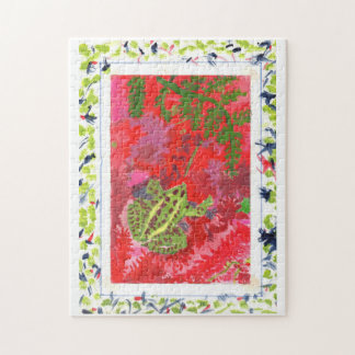 Frog in red bog in hand-painted frame jigsaw puzzl jigsaw puzzle