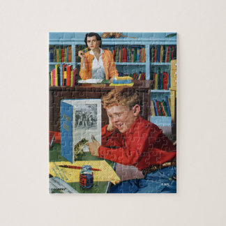 Frog in the Library Jigsaw Puzzle
