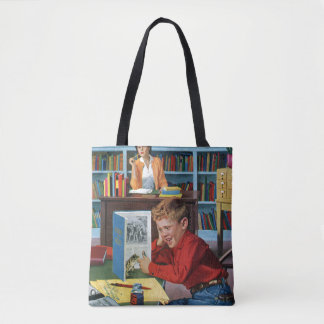 Frog in the Library Tote Bag