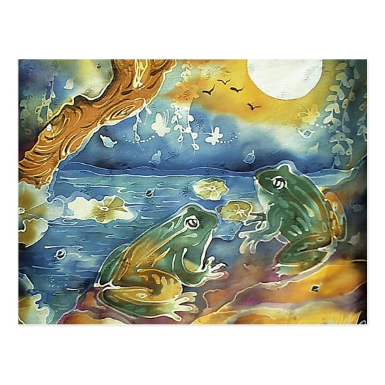 Frog in the Moonlight Painting Postcard