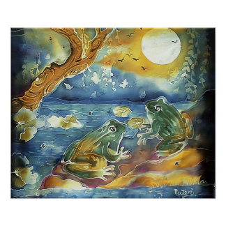 Frog in the Moonlight Painting Poster