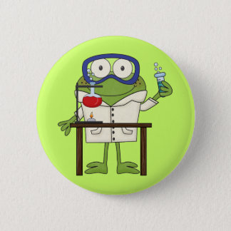 Frog in the Science Lab 6 Cm Round Badge