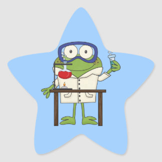 Frog in the Science Lab Star Sticker