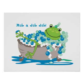 Frog In Tub Kids Bathroom Art Frog Bathroom Poster
