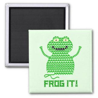 Frog It! Vector Crochet Frog (Green Background) Fridge Magnets