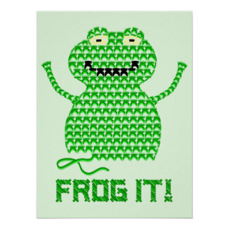 Frog It! Vector Crochet Frog (Green Background) Poster