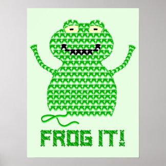 Frog It! Vector Crochet Frog (Green Background) Print