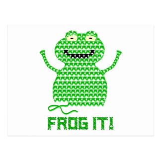 Frog It! Vector Crochet Frog Postcard