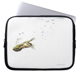 frog jumping and diving into the water laptop sleeve