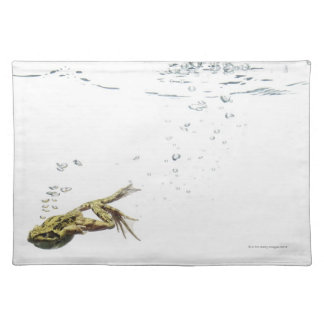 frog jumping and diving into the water placemat