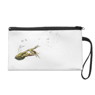 frog jumping and diving into the water wristlet purse