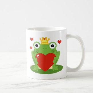 Frog King with Heart Basic White Mug