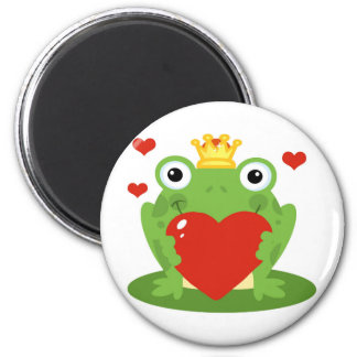 Frog King with Heart Refrigerator Magnet