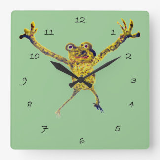 Frog Leaping Funny Animal Art Square Wall Clock