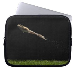 frog leaping off fresh green grass laptop sleeve