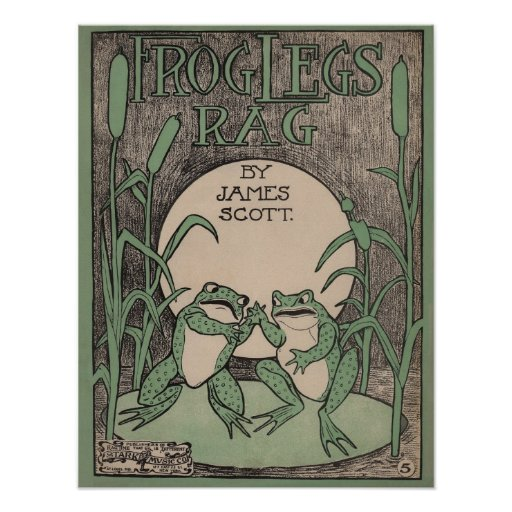 Frog Legs Rag Sheet Music Poster Print Vintage