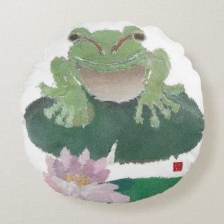 Frog, Lily Pad, Lotus Round Cushion