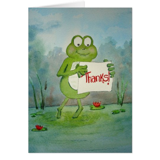 Frog Line Card saying thanks thank... - Customised
