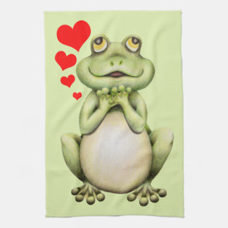 Frog Love Drawing Tea Towel