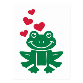 Frog love red hearts postcard