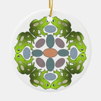 Frog Mandala Round Ceramic Decoration